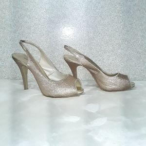 Sparkly peep toe high heels Sz 8.5